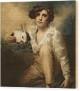 Boy And Rabbit Wood Print by Sir Henry Raeburn
