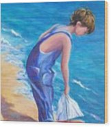 Boy At The Beach Wood Print