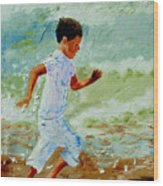 Boy By The Sea Wood Print