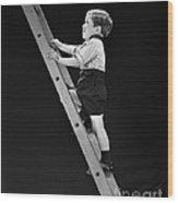 Boy Climbing Tall Ladder, C.1930s Wood Print