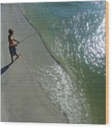 Boy Fishing On Captiva Wood Print