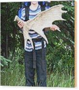 Boy Holding A Moose Antler Wood Print