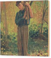Boy Holding Logs Wood Print by Winslow Homer