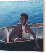 Boy In A Tin Boat On The Nile Wood Print