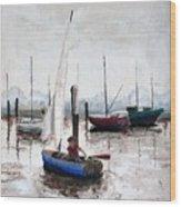 Boy In Blue Sailboat Wood Print