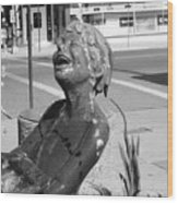 Boy In Fountain Sculture Grand Junction Co Wood Print