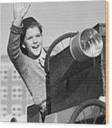 Boy In In Go-cart, C.1940-30s Wood Print