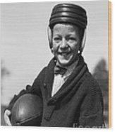 Boy In Old-fashioined Football Gear Wood Print