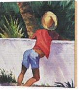 Boy Leaning On Wall Wood Print