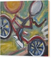 Boy On A Bike Wood Print
