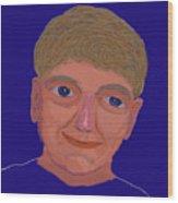 Boy On Blue Wood Print