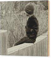 Boy On Fence - Sepia Wood Print