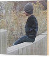 Boy On Fence Wood Print