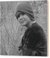 Boy On Fence Smiling - Bw Wood Print
