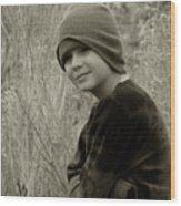 Boy On Fence Smiling - Sepia Wood Print