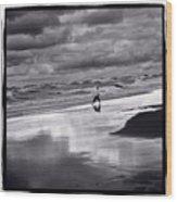 Boy On Shoreline Wood Print