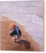 Boy On The Beach Wood Print
