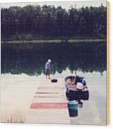 Boy On The Dock Ae Wood Print
