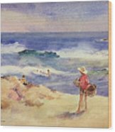 Boy On The Sand Wood Print by Joaquin Sorolla