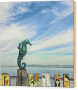 Boy On The Seahorse Wood Print