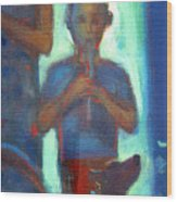 Boy Playing Flute Wood Print