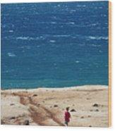 Boy Runs Toward Ocean Wood Print