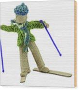 Boy Skiing In Burlap Crafts Wood Print