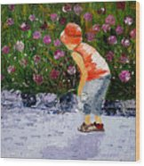 Boy Smeling Flowers Wood Print