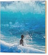 Boy And Wave   Kekaha Beach Wood Print