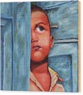 Boy Waiting At Door Wood Print