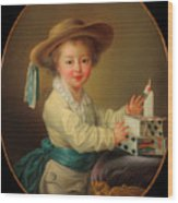 Boy With A House Of Cards                                   Wood Print