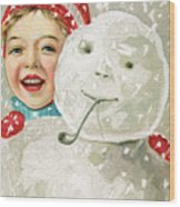 Boy With A Snowman Wood Print