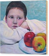 Boy With Apples Wood Print