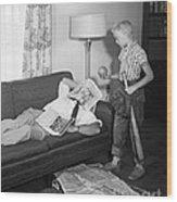 Boy With Baseball Vs. Napping Dad Wood Print