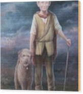 Boy With Dog Wood Print