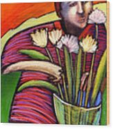 Boy With Flowers Wood Print