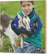 Boy With Goat Wood Print
