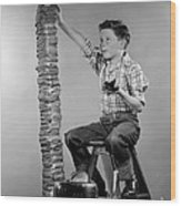 Boy With Huge Stack Of Toast, C.1950s Wood Print