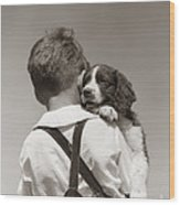 Boy With Puppy, C.1930-40s Wood Print