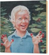Boy With Raspberries Wood Print