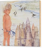 Boy With Sandcastle Wood Print by Shawn McLoughlin