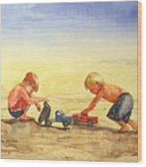 Boys And Trucks On The Beach Wood Print