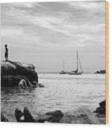 Boys At Boothbay Harbor Wood Print