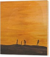 Boys At Sunset Wood Print