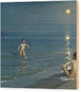 Boys Bathing At Skagen. Summer Evening Wood Print