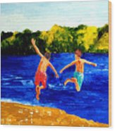 Boys By The River Wood Print