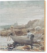 Boys On The Beach Wood Print by Winslow Homer