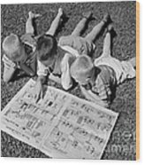 Boys Reading Newspaper Comics, C.1950s Wood Print