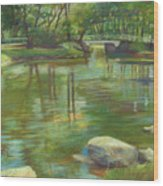 Bradford Ma College Pond Wood Print