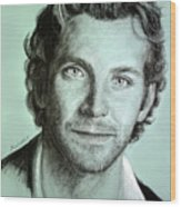 Bradley Cooper Charcoal Portrait Wood Print